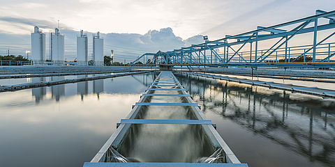 Industrial wastewater in clarifier of a sewage treatment plant