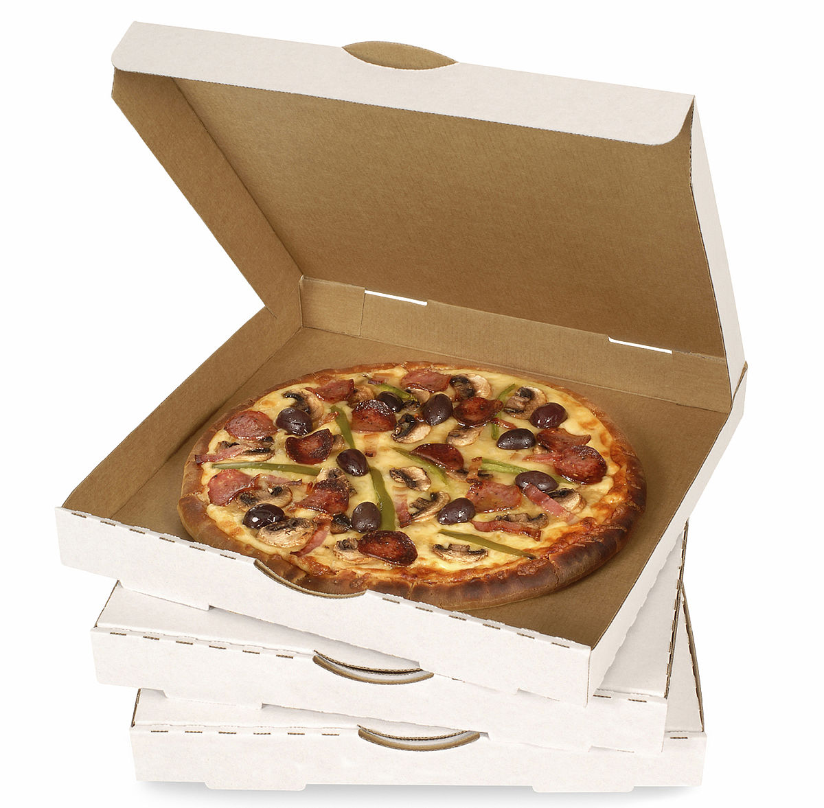Cardboard box with pizza