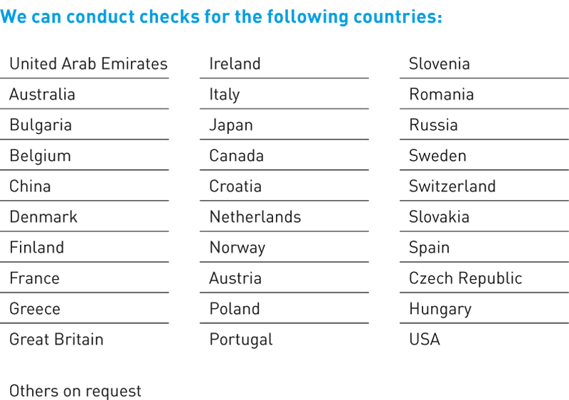 Check ups for following countries